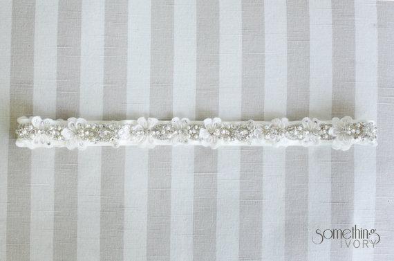 Hochzeit - FLORA - Beaded Rhinestone Bridal Sash, Wedding Belt, Bridal Headband