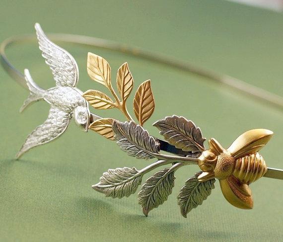Hochzeit - Bird and bee bridal headband leaves wedding head piece garden leaf hair accessory