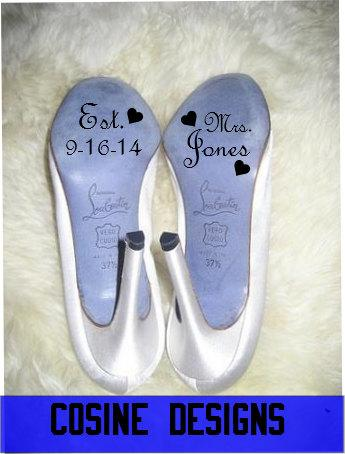 "Свадьба - Custom Wedding Shoe Decal set - ""Est. Date""  Mrs. Bride, Wedding Gift, Wedding Accessory"