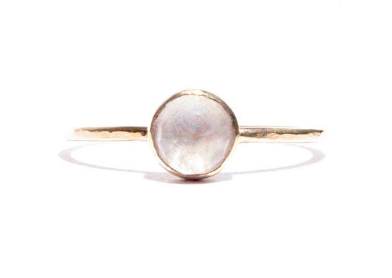 Mariage - Moonstone &14k Solid Gold Ring - Rose Cut Ring - Stacking Ring - Thin Gold Ring - Gemstone Ring - Engagement Ring - MADE TO ORDER.