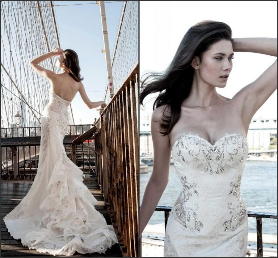 New Arrival Pnina Tornai Lace Wedding Dresses 2015 Crystal Tiers ...