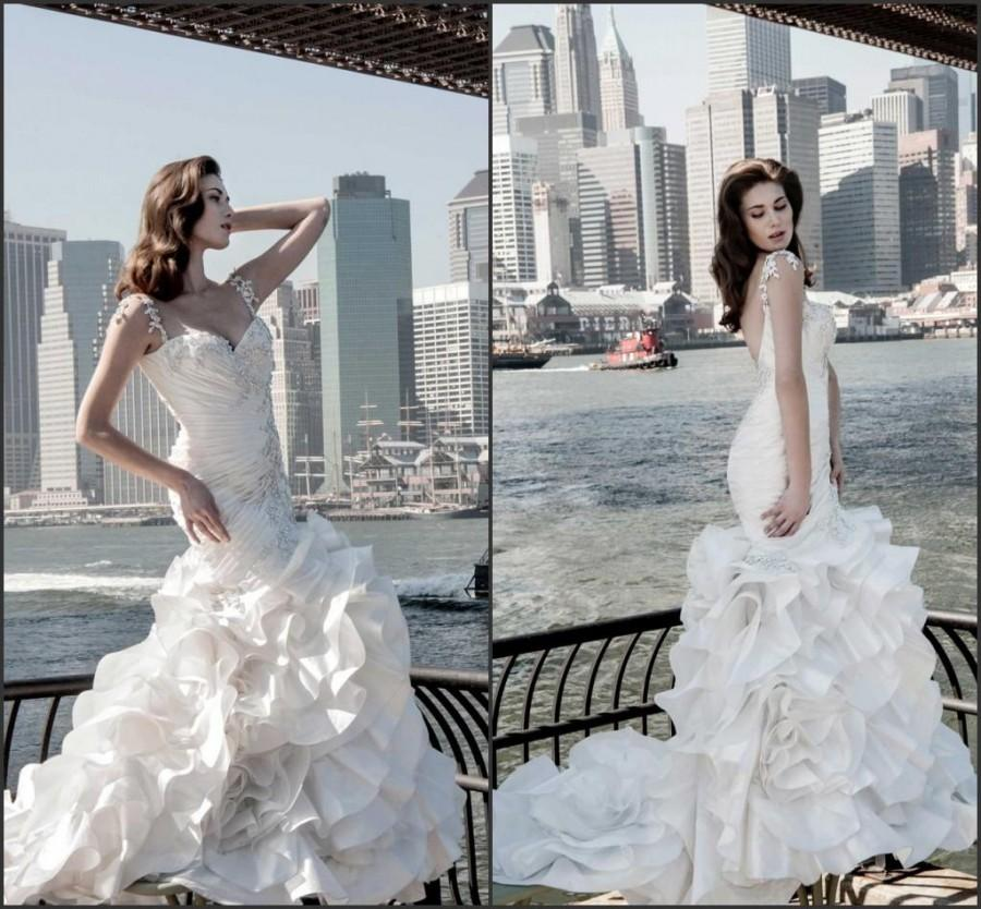 Glamourous pnina tornai spaghetti wedding dresses gowns for Cascading ruffles wedding dress