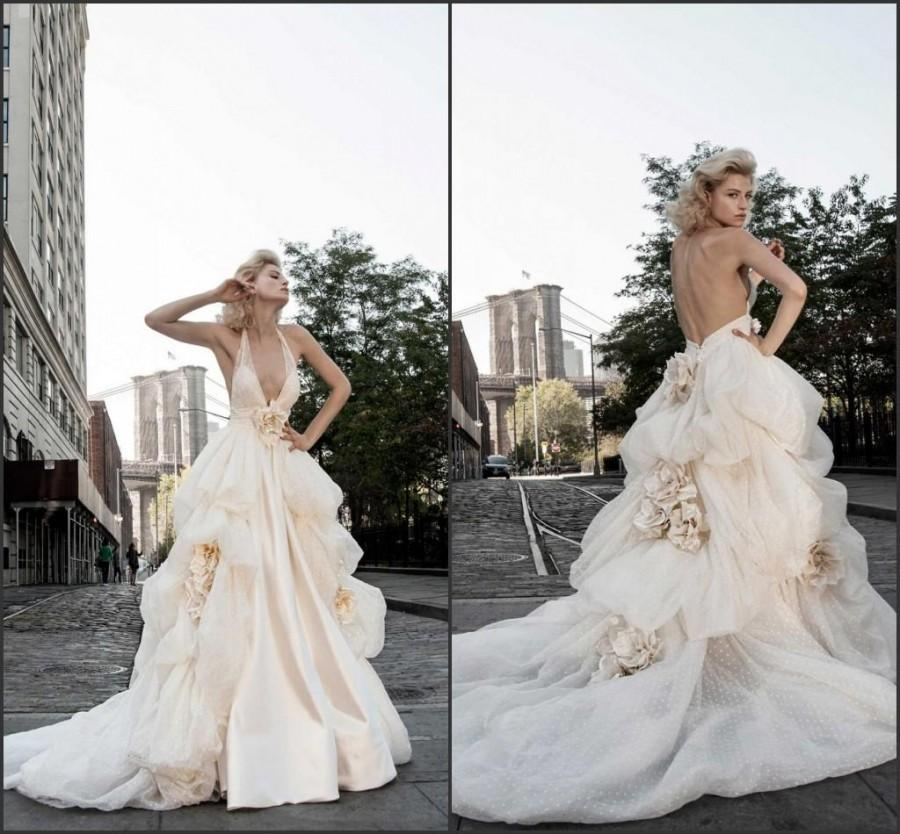 2015 Blush Backless Wedding Dresses Handmade Flower Deep V Neck Draped  Organza Ball Gown Sweep Bridal Dresses Gown Designer By Pnina Tornai,  $113.69