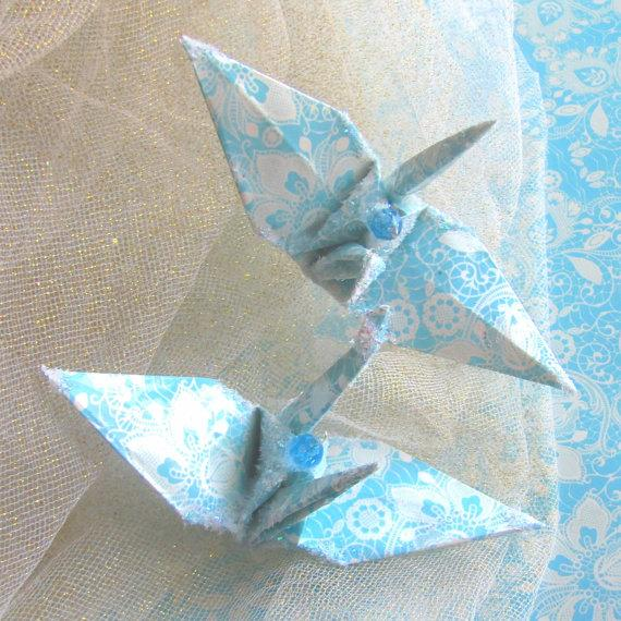 Tiffany Blue Lace Peace Crane Bird Wedding Cake Topper Party