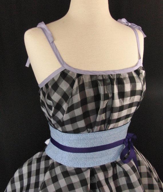 زفاف - Obi Corset Belt Baby Blue Calico Waist Cincher Lace Up SAMPLE SALE