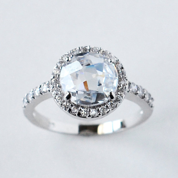 Свадьба - halo engagement ring, cz ring, halo ring, cz wedding ring, cubic zirconia engagement ring, round cut size 5 6 7 8 9 10 - MC1083371AZ