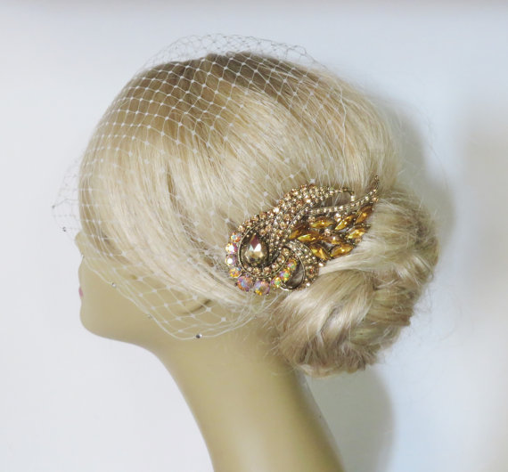 Mariage - Birdcage Veil Ivory and a Gold-Topaz Bridal Hair Comb (2 Items) Headpieces Bridal Comb  Wedding comb bridal headpieces hair accessories