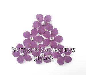 Wedding - Lavender Wedding, Bridal Hair Flowers, Flower Hair Accessories - 3 Orchid Purple Harper Jasmine Flower Hair Pins - Rhinestone Centers