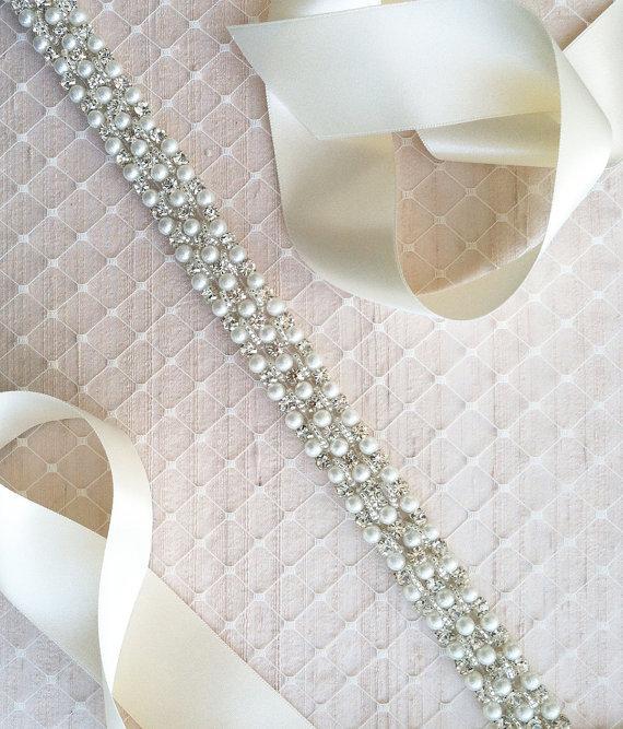 Свадьба - Pearl  Wedding Dress Sash  - S11