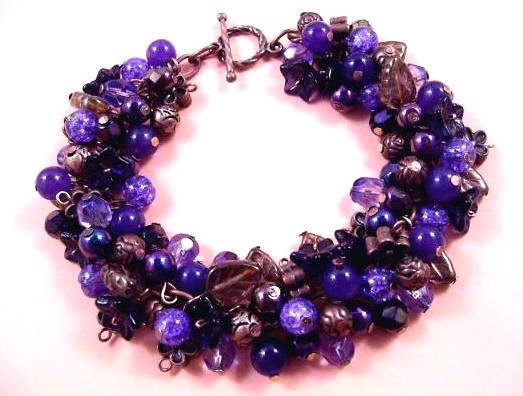 Wedding - SALE - Flower Bracelet, Purple Blossom Bouquet, Copper Charm Bracelet, FREE Shipping U.S.