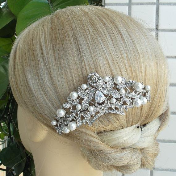 Hochzeit - Wedding Hair Comb, Pearl Rhinestone Bridal Hair Comb, Wedding Accessories Jewelry, Bridal Hair Accessories, Bridesmaid Hair Comb - HS1468D2
