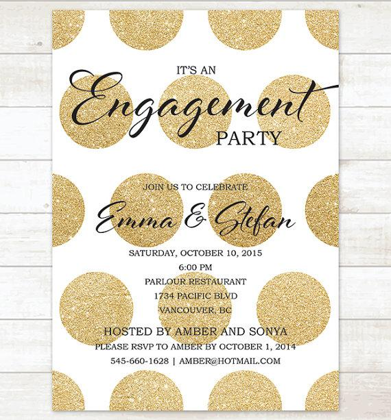 gold engagement party invitation gold glitter engagement party invite customizable