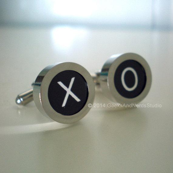 Wedding - Personalized Cufflinks - Groomsmen Gift - Black Typewriter Key Cufflinks - Personalized Custom Monogram Cufflink with 2 Initial Cuff Links