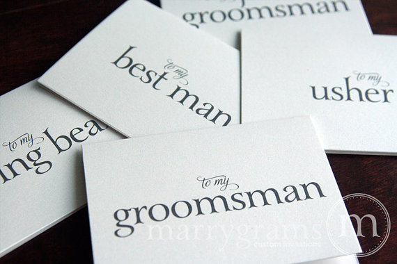 Свадьба - Groomsman Thank You Card, Best Man Card, Wedding Note Card Groomsmen -Perfect with a Groomsman Gift -Bridesmaids, Usher Card (Set of 4) CS08