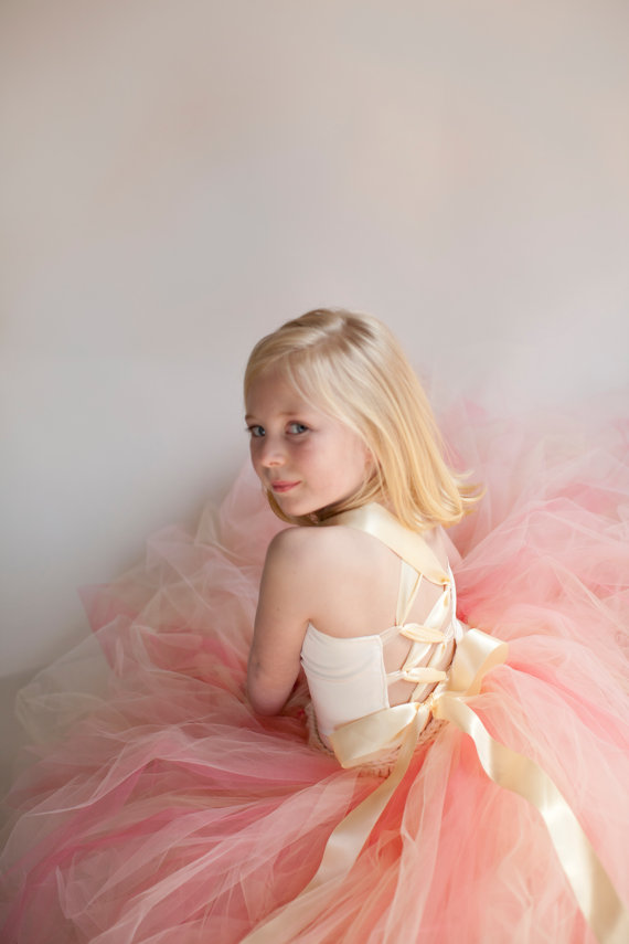 Mariage - Pixie tutu dress..Peach Dream...Flower Girl Dress..Vintage Photography Prop. Made to order in custom colors