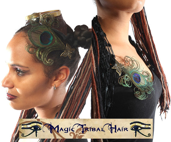 Hochzeit - 2x PEACOCK feather brass BUTTERFLY FASCINATOR Fantasy Wedding bridal hair jewelry Steampunk & burlesque headpiece Tribal Fusion Belly Dance