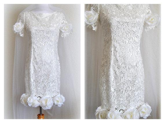 Posh Guipure Wedding Dress Boho Lace Short Bridal Gown