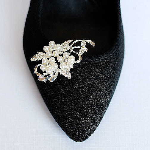 Wedding - Bridal Shoe Clips Pearl Crystal Rhinestone Shoe Clips Wedding Party (Set of 2) SC016LX