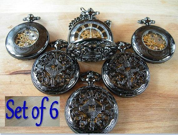 Свадьба - Set of 6 Pocket Watches Gunmetal Black Celtic Love Knot Groomsmen Gift Wedding Set Ships from Canada