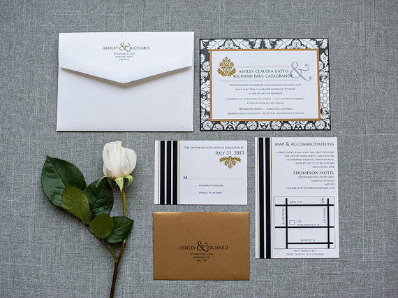 Свадьба - Wedding Invitation Suite - Black and Gold Brocade and Stripes - Custom Colors - Ashley and Richard