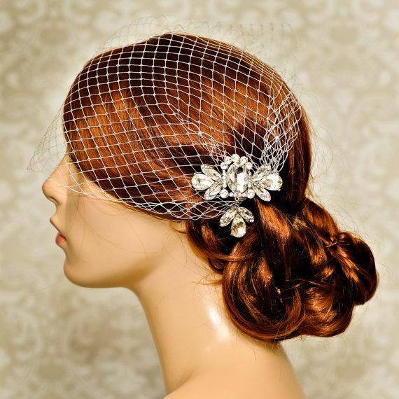 Mariage - Birdcage veil, Wedding Hair Accessories, Bridal Birdcage Veil, Wedding Veil Birdcage, bridal headpiece