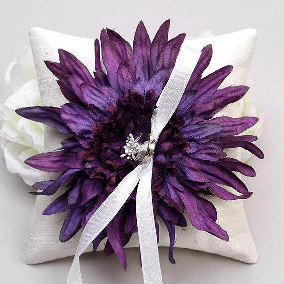 Mariage - Ring pillow - wedding ring bearer pillow, flower ring pillow, Bridal ring pillow