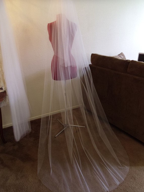 Wedding - Wedding Veil Chapel Double Tier Cut Edge Standard Width