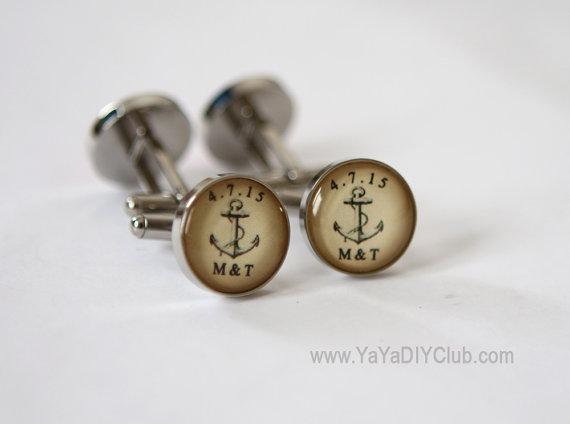 Свадьба - Anchor Wedding Gift for Groom Cufflinks Custom, Vintage Anchor Wedding Gift Groomsmen gifts Nautical Wedding Favor Anchor Wedding Favor