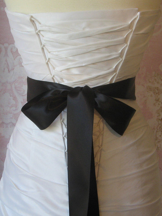 Свадьба - Double Face Black Satin Ribbon, 2 Inch Wde, Ribbon Sash, Bridal Sash, Wedding Belt, 4 Yards