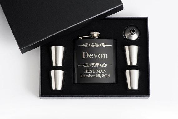 Wedding - 8, Personalized Groomsmen Gift, Engraved Flask Set, Engraved Flasks, Personalized Best Man Gift, 8 Flask Sets