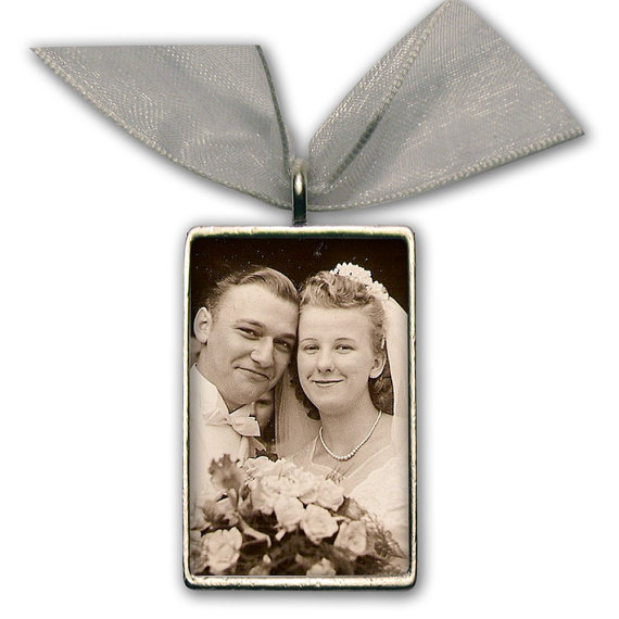 """Mariage - Wedding Bouquet Photo Charm Bridal Bouquet Memory Charm Silver Pewter - Rectangle 1"""" 1/4"""" x 3/4"""""""