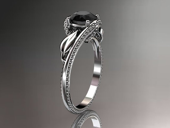 Свадьба - Unique 14kt  white gold  engagement ring with black diamond center stone ADLR322
