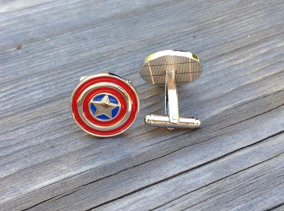 Свадьба - SALE Captain America cufflinks, Steve Rogers marvel agents shield s.h.i.e.l.d. superhero super hero link Valentine's Day Groomsmen Gift