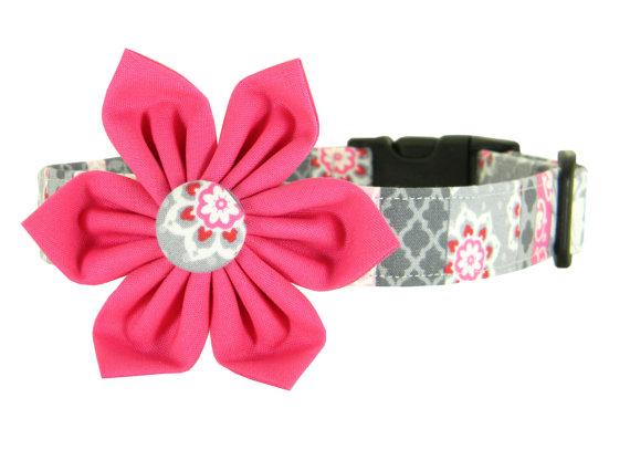 Свадьба - Pink Gray Girl Flower Dog Collar/ Wedding Dog Collar Flower Set: Rose Suzani