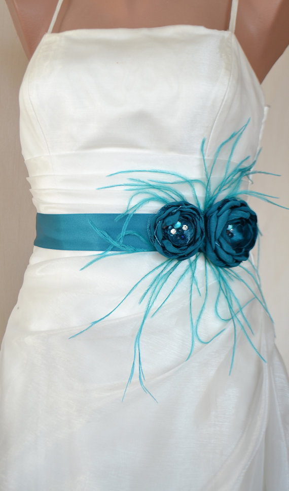 Handcraft Teal Two Flowers With Feathers Wedding Bridal Sash Belt ...