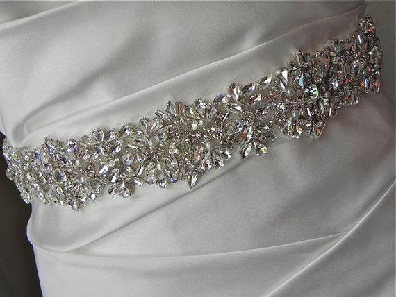 Hochzeit - Reserved for Katie Geometric Rhinestone Bridal Sash with Pearl Accents - Wedding Dress Belt