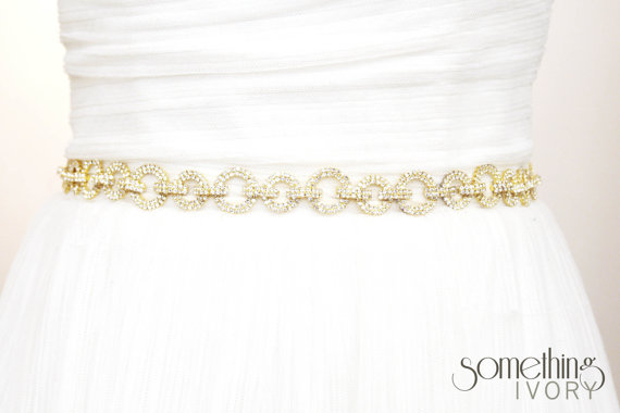 Hochzeit - ATHENA - Rhinestone Encrusted Gold Bridal Wedding Belt