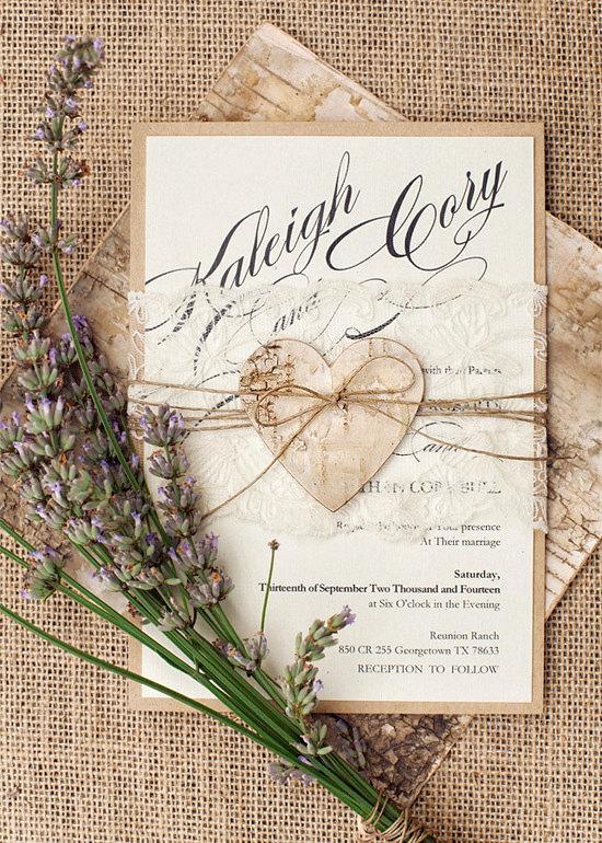 custom listing 20 rustic lace wedding invitation heart wedding invitations birch bark. Black Bedroom Furniture Sets. Home Design Ideas