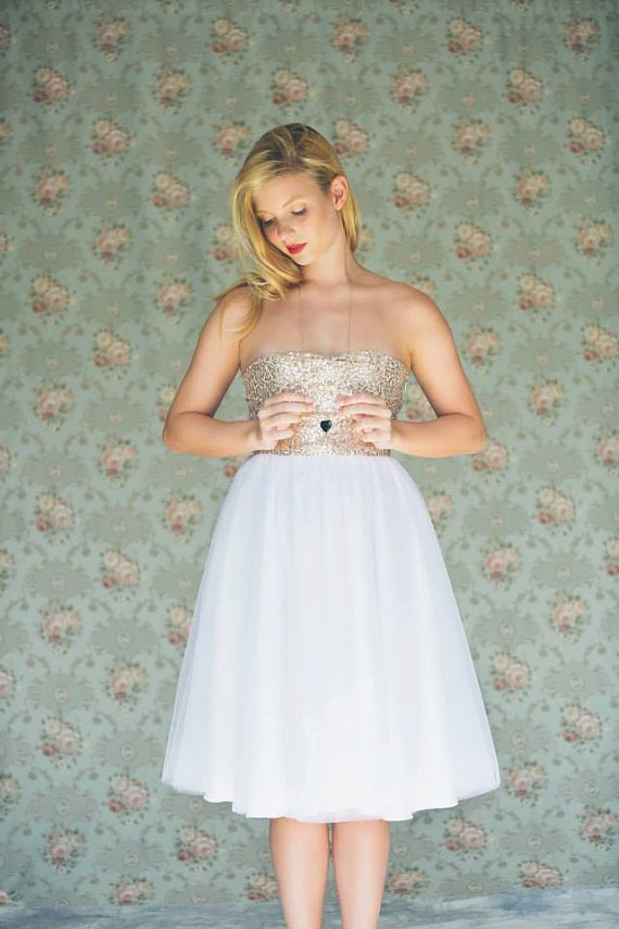 Gold Sequinned Short Knee Length White Tulle Dress Made To Order