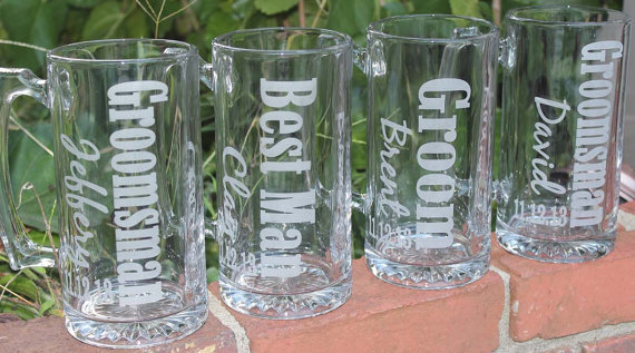 Свадьба - 5 Personalized Groomsman Gift, Etched Beer Mug.  Great Bachelor Party Idea,Groomsmen,Best Man,Father of Bride or Groom Gift