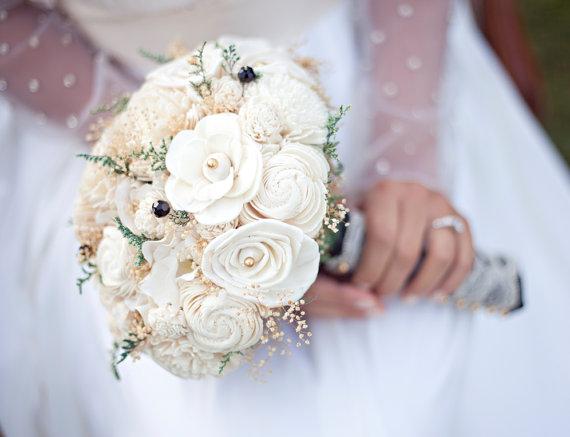 Hochzeit - Wedding Bouquet - Vintage Collection, Large Ivory Lace Black Keepsake Alternative Bouquet, Sola Bouquet, Rustic Wedding