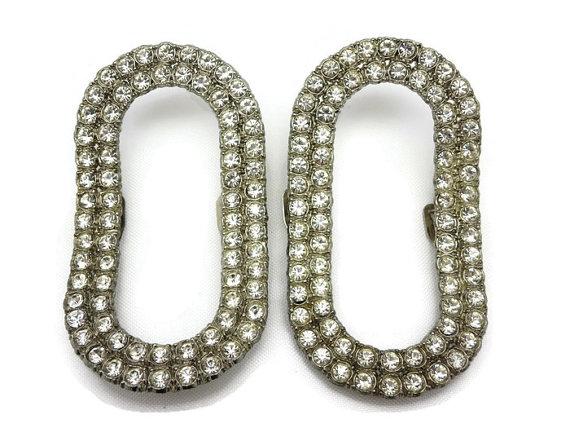 Свадьба - Vintage Rhinestone Shoe Clips - Bridal Shoe Jewelry