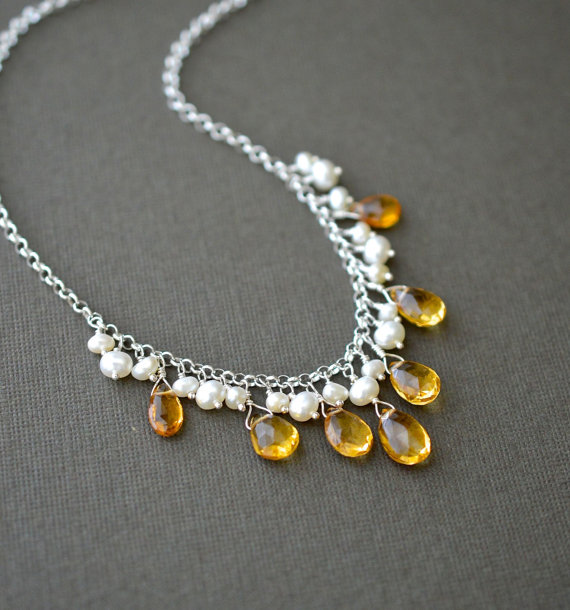 Mariage - Citrine Pearl Necklace, Yellow Bridal Jewelry, Sterling Silver, Drop Necklace, 18 Inch