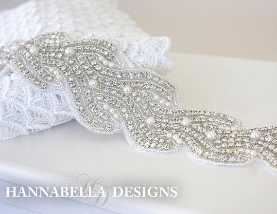 Mariage - VALENCIA - Bridal Crystal Rhinestone And Pearls Sash, Rhinestone Bridal Belt, Wedding Beaded Sash, Rhinestone Wedding Belts