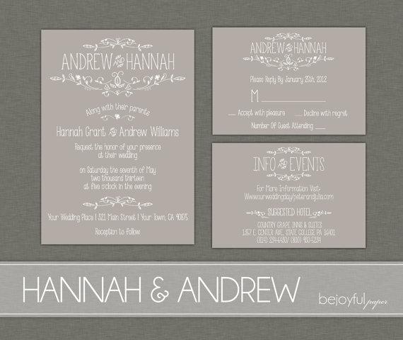 Mariage - Vintage Wedding Invitation and RSVP -Printable DIY. printed country chic outdoor wedding (1054)