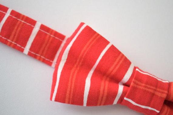 Hochzeit - SALE Bowtie Coral Stripe Ages 2-10