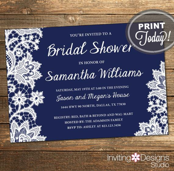Lace Bridal Shower Invitation, Wedding Shower Invitation, Lace, Navy Blue,  Dark Blue, White, Printable File (Custom Order, INSTANT DOWNLOAD)