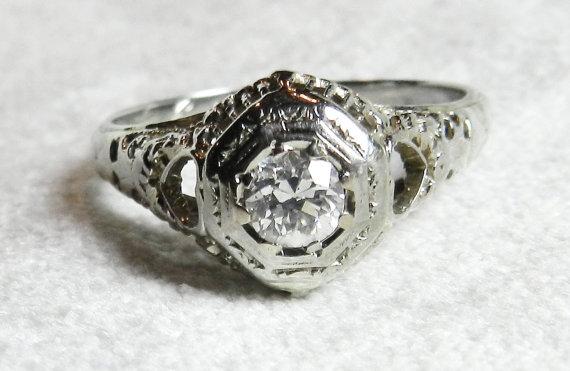 Свадьба - Antique Old European Cut Diamond Engagement Ring 18K White Gold Signed Bluite Art Deco Orange Blossom Diamond Ring 1920s White Gold 18K