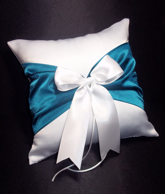Wedding - White or Ivory Wedding Ring Bearer Pillow Teal Oasis Blue Accent
