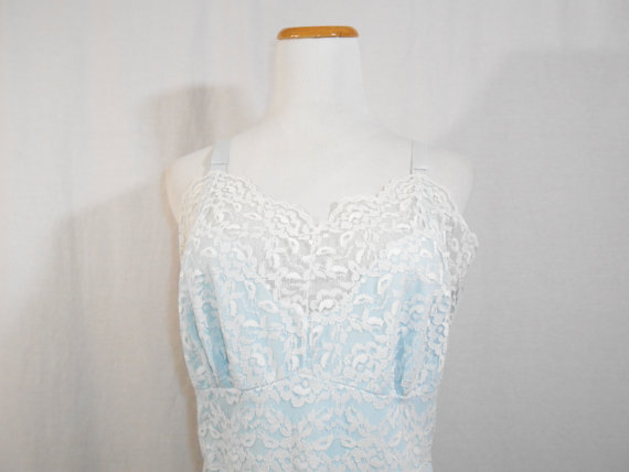 Hochzeit - Womens Nightgown 50s Lingerie Pale Blue Nylon and White Lace Nightgown